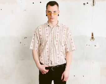 Aztec Print Cotton Shirt . 1990s Vintage Men's Short Sleeve Patterned 90s Shirt Southwestern Shirt Men Summer Shirt . size Medium M