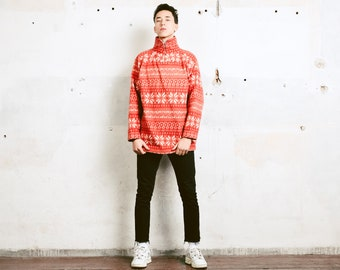 Vintage Christmas Sweater . Men Fleece Sweatshirt Patterned 90s Soft Sweater Comfy Pullover Winter Fleece Sweater . size Large L
