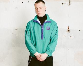 Windbreaker Anorak Jacket . 90s Men Retro Jacket Bold Green Jacket Lightweight Spring Jacket 90s Rave Clothing Smock Jacket . size Small S