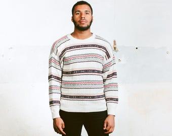 Peruvian Striped 90s Sweater . Vintage Mens Knitted Jumper Xmas Gift Boyfriend Wear Comfy Jumper Adventure Sweater . size Medium