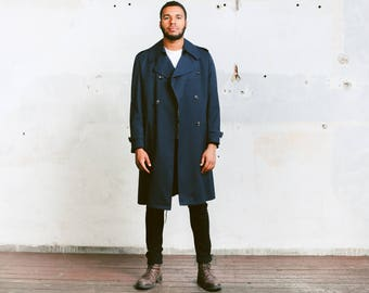 Men's Trench Coat . Vintage Navy Blue Coat Long Autumn Jacket Duster Coat Outerwear 1980s Sherlock Detective Coat Rain Coat . size Medium M
