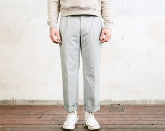 Vintage Grey Men Trousers . Mens 80s Tapered Pants Cotton Dad Pants Oldschool Chinos Casual Pants Grey Trousers . size Medium M