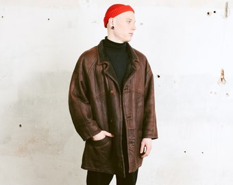 90s Brown Suede Coat . Vintage Mens Brown Jacket Sherpa Jacket Retro Parka 90s Leather Jacket Outerwear Men 90s Clothing . size Large