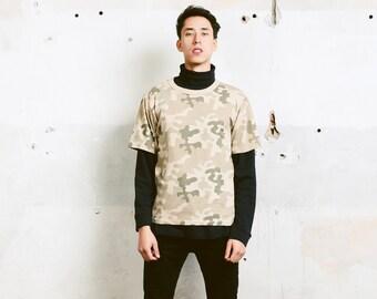 Vintage Camo T-Shirt . Men Military Style 90s Tee Shirt Short Sleeve Camouflage Shirt Camping Safari TShirt Gift For Man . size Medium M