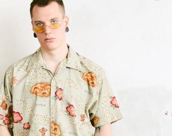 90s Hawaii Shirt . Bold Hawaian Shirt Mens Shirt Colorful Summer Top Floral Shirt Hipster 90s Skater Shirt Vacation Shirt . size Large L