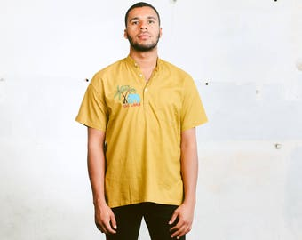 Mens Vacation Shirt . 80s Vintage Travel Shirt Adventure Shirt Mens Yellow T-Shirt Band Collar Hippie Shirt Boyfriend Gift . size Medium M