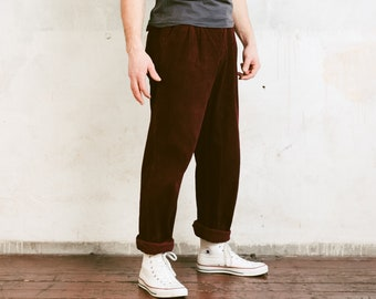 80s Men Corduroy Trousers . Vintage Mens Cord Pants Red Nerd Pants Boyfriend Gift Hipster Pants Ankle Pants Dad Trousers . size Medium , 48