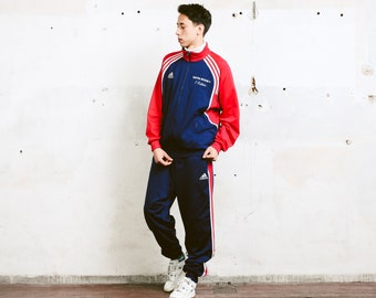 Men's Adidas Tracksuit . Vintage Athletic Tracksuit Set Sports Jacket and Long Pants Sportswear Rave Outfit 90s Adidas Wear . size Large L