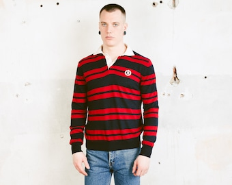 Henri Lloyd Rugby Sweater . Vintage 90s Striped Sweater Long Sleeve Polo Shirt Dark Blue Red Sweater Men Striped Pullover Top . size Medium