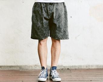 Men Summer Shorts . Vintage 90s Faded Black Shorts Acid Wash Short Pants Vacation Shorts Cotton Shorts 90s Clothing Retro .  size Small S