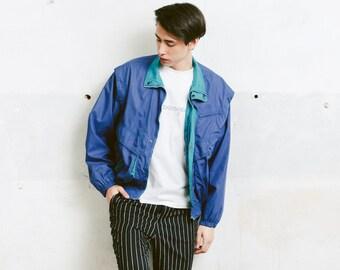 Men Spring Jacket . Vintage 80s Windbreaker Jacket Outerwear Mens Blue Jacket Mens Hiking Jacket Spring Windbreaker . size Large L