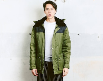 Men 90s Hooded Parka Coat . Vintage Parka Jacket Oversize Khaki Green Jacket Winter Jacket Men Clothing Boyfriend Gift . size Medium M