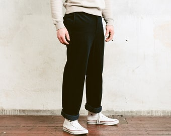 90s Dark Blue Cord Pants . Men's Corduroy Trousers Relaxed Fit Straight Ankle Pants Retro Nerd Pants 80s Trouser . size Large / 50