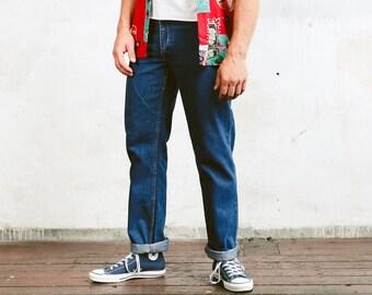 Men Denim Pants . Vintage Jeans Mens Tappered Leg Dark Wash Retro Jeans Unisex Jeans Retro 90s Jeans Oldschool Pants . size 33