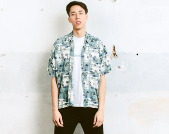 Short Sleeve Vacation Shirt . Patterned Vintage 90s Summer Shirt Men Shirt Unisex 1990s Short Sleeve Shirt . size Extra Large XL