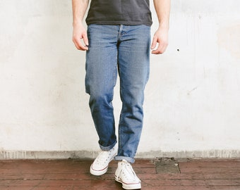 Vintage Men Faded Jeans . Blue 90s Denim Pants Mens Straight Leg Dad Jeans Light Wash Blue Jeans Ankle Pants  . size Medium W32
