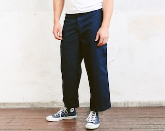 Mens Blue Workwear Pants . Vintage Work Pants Indigo Blue Wide Ankle Pants . size XXL