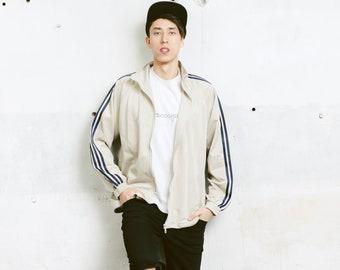 Mens Track Jacket . Vintage Athleisure Jacket Grey 90s Jacket Zip Up Sports Jacket Tracksuit Streetwear . size Large L