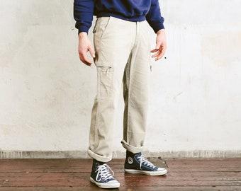 90s Corduroy Cargo Pants . Vintage Mens Beige Pants 1990s Cord Trousers Utility Pants Oldschool Dad Pants Nerd Boyfriend Gift . size W32 L32