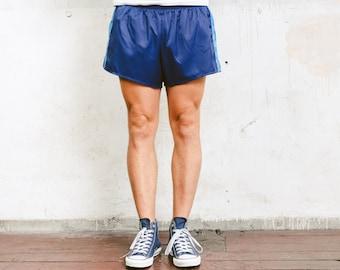 Sprinter Shorts with Striped Side . Blue Shorts Sports Shorts Men's 90s Sportswear Unisex Summer Shorts Vacation Swim Trunks . size Large