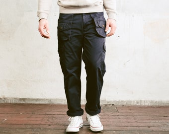 90s Dark Blue Utility Pants . Men's Cargo Trousers Tapered Pants Nerd Pants Relaxed Casual Bottoms Work Pants . size Large / 50