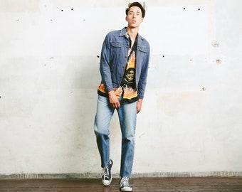 Dark Blue Trucker Jacket . Mens Vintage 80s Blue Jeans Jacket Outerwear Boyfriend Men Gift Idea . size Small