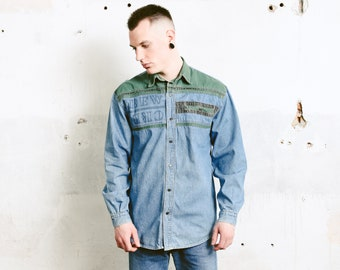 Vintage Men Denim Shirt . 90 Blue and Green Western Shirt Jean Panel Shirt Long Sleeve Shirt Chambray Shirt . size Large L