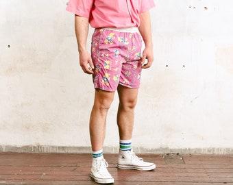 Vintage Pink Beach Shorts . Men 90s Ethnic Print Swim Shorts Swim Trunks Bold Surfer Shorts Summer Shorts Swimwear Beachwear . size Medium