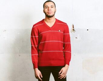 Mens Ellesse Sweater . Vintage 90s Pullover V-Neck Mens Red Sweater Knitwear Men 90s Knit Sweater Gift For Him Men Clothing . size Medium M