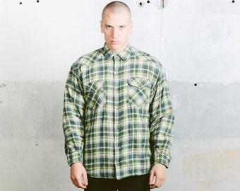 Padded Plaid Shirt . Vintage 80s Mens Lumberjack Flannel Shirt Long Sleeve Thick Shirt 90s Grunge Green Autumn Jacket . size Medium M