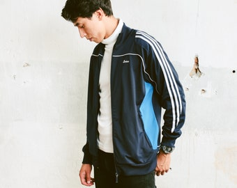 Mens Adidas Track Jacket . 90s Vintage Adidas Blue Jacket Zip Up Sports Jacket Unisex Tracksuit Top Streetwear Rave Jacket . size Medium M
