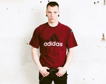 Mens 90s Adidas Equipment T-Shirt . Vintage Wine Red T-shirt Unisex 90s Clothing Sports T-shirt Streetwear Logo T-Shirt . size Medium M