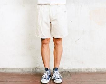 Beige Summer Shorts . Vintage Mens Safari Shorts 90s Short Pants High Waist Shorts Linen Blend Normcore Safari Clothes . size Large