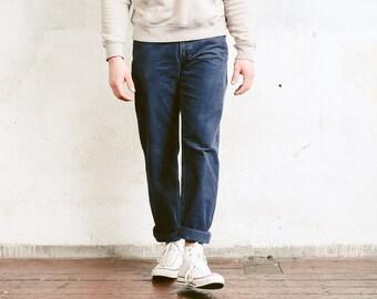 Men Cord Trousers . 90s Corduroy Pants Tapered Pants Boyfriend Wear Corduroy Jeans Casual Bottoms Nerd Pants Blue Pants . size Small
