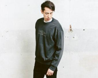 Grey Umbro Sweatshirt . Mens 90s Sweatshirt Street Style Mens Grey Jumper Boyfriend Wear Men Long Sweater . size Large L