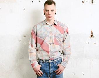 Men Abstract Print Shirt . Bold Men Printed Shirt Long Sleeve Casual Shirt Everyday Shirt Shirt Soft Shirt . size Large L
