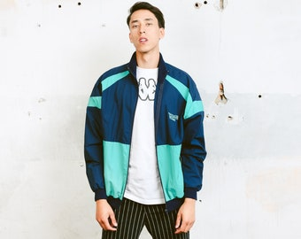 90s Shell Jacket . Mens 90s Jacket Zip Up Windbreaker 90s Jacket Sports Jacket Athleisure Jacket 90s Clothing . size Large L