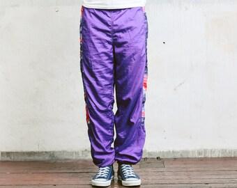 Men Shell Pants . 90s Warm Up Pants Purple Sports Pants Men Track Pants Shellsuit Vintage 90s Sweatpants Bottoms . size Small S