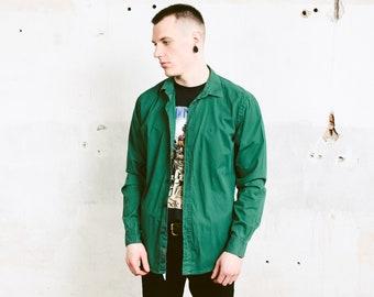 Green CALVIN KLEIN Shirt . 90s Vintage Minimalist Green Shirt Hipster Boyfriend Shirt Fitted Slim Fit Shirt Designer Shirt . size Medium