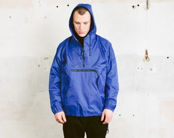 Vintage Blue Rain Jacket . Men's Anorak Jacket Lightweight Waterproof Jacket Hipster Outfit 90s Men Hooded Windbreaker . size Medium M