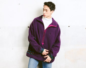Vintage Fleece Jumper . Men 90s Soft Fleece Sweater Baggy Sweater Purple Cozy Comfy Sweater . size Extra Large XL