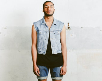 Mens Denim Vest . Vintage Light Wash Jean 90s Jacket Unisex Jean Vest Faded Trucker Vest Sleeveless Top Hipster Jean Vest . size Medium M