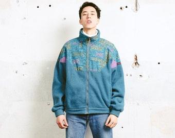 Vintage Fleece Jacket . 90s Men Aztec Print 1990s Soft Fleece Comfy Sweater Mens Zip Up Jacket Men Jacket . size Extra Large XL