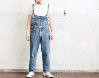 Men's Vintage Dungarees . Medium Wash Denim Overalls Bib Overall Pants 90s Jean Workwear Unisex Mechanic Jumpsuit . size Large