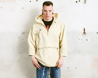 Yellow Hooded Anorak Jacket . Vintage Men's Jacket Cotton Canvas Jacket Hipster Men Windbreaker Wind Jacket Spring Jacket . size Small S
