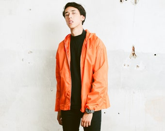 Orange 70s Rain Jacket . Vintage Hooded Rain Coat Men Women Unisex Jacket Lightweight Jacket . size Medium