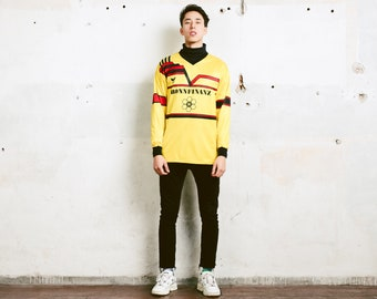 Bold Yellow Sports Jersey . Vintage Men Sportswear Football Shirt Long Sleeve T-shirt 80s Soccer Shirt Athleisure Wear . size Medium M