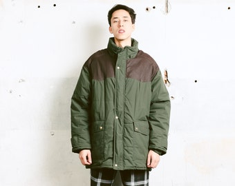 Mens Green Puffer Coat . Vintage Parka Jacket Oversize Khaki Green Jacket Winter Jacket Men Clothing Boyfriend Gift . size Large L