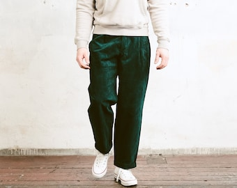 Men Green Corduroy Trousers . 90s Cord Pants Tapered Pants Dadcore Peg Leg Pants Hipster Nerd Pants Emerald Green Bottoms . size 50 Large