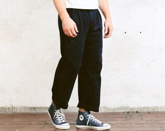 90s Dark Blue Cord Pants . Men's Cord Trousers Straight Leg Ankle Pants Dad Peg Leg Hipster Nerd Pants . size Medium M